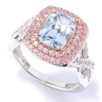 128-503 - Dare to Rare™ by Lucy Two-tone 3.40 DEW Cushion Cut Simulated Diamond Double Halo Ring