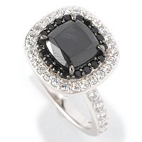 D2R SS/PLAT CUSHION CUT SIMULATED BLACK AND WHITE DIAMOND DOUBLE HALO RING