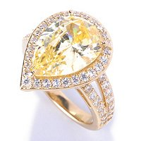 D2R SS/18K YGP PEAR CUT SIMULATED CANARY AND WHITE DIAMOND HALO RING