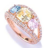 D2R SS/18K RGP ASSCHER CUT PINK, CANARY, AND BLUE DIAMOND THREE STONE RING