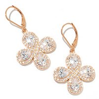 D2R SS/18K RGP WHITE PEAR SHAPE HALO FLOWER DROP EARRINGS