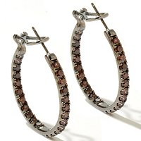 D2R SS/CHOICE OF SIMULATED DIAMOND COLOR ROUND CUT INSIDE OUT HOOP EARRINGS