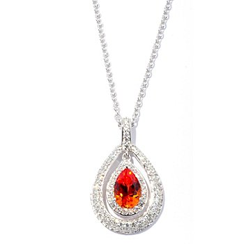 128-513 - Dare to Rare™ by Lucy Platinum Embraced™ 2.17 DEW Pear Cut Simulated Diamond Pendant