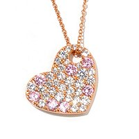 "D2R SS/18K RGP PINK AND WHITE SIMULATED DIAMOND HEART PENDANT W/ 18"" CHAIN"