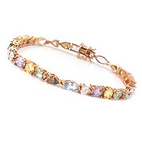 D2R SS/18K RGP MULTI COLOR AND CUT SIMULATED DIAMOND LINE BRACELET