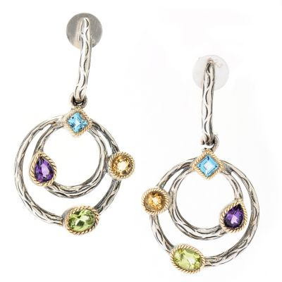 128-522 - Sterling Artistry by EFFY 1.00ctw Scattered Multi Gemstone Dangle Earrings