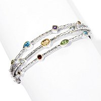 SS/18K MULTI GEM SCATTER HINGED BANGLE
