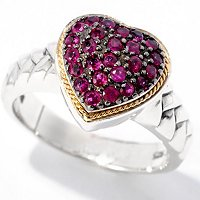 SS/18K RUBY HEART RING