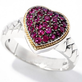 128-526 - Sterling Artistry by EFFY Two-tone Ruby Heart Textured Ring