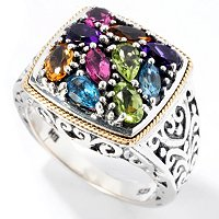 SS/18K MULTI GEMSTONE SQUARE CENTER RING