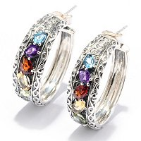 SS MULTI GEM HOOP EARRINGS