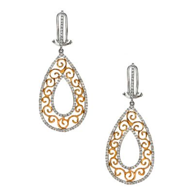 128-540 - Porsamo Bleu 14K Two-tone 1.00ctw Drop Earrings