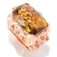 SS/RV WHISKY QUARTZ CUSHION CUT RING W/ ORANGE SAPPHIRE