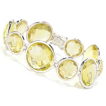 128-583 - Dallas Prince Designs Sterling Silver 7.5'' Round Quartz Bracelet