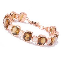 SS/RV COGNAC QUARTZ CUSHION CUT BRACELET W/ BLUE MOONSTONE