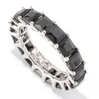BLTA SS/PLAT SIMULATED BLACK DIAMOND PRINCESS CUT ETERNITY BAND RING