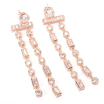 128-587 - Sonia Bitton for Brilliante® 5.06 DEW Bezel Set Two-strand Drop Earrings