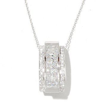 128-588 - Charlie Lapson for Brilliante® 4.17 DEW Emerald Cut Concave Pendant w/ Chain