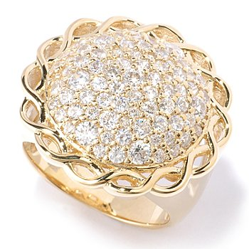 128-591 - Sonia Bitton for Brilliante® 1.70 DEW Round Cut Pave Intertwined Border Ring