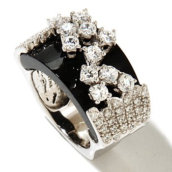 128-594 - Sonia Bitton for Brilliante® Platinum Embraced™ 1.58 DEW Round Cut East-West Ring