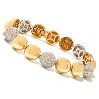 SB SS/TWO-TONE ROUND DOME PAVE ALTERNATING LINE BRACELET