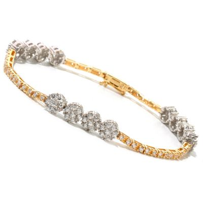 128-597 - Sonia Bitton for Brilliante® Two-tone Round Cut Flower Cluster Line Bracelet