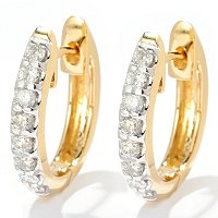 14k CHOICE DIAMOND HUGGIE HOOP EARRINGS
