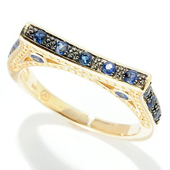 128-605 - Beverly Hills Elegance 14K Gold 0.40ctw Blue Sapphire Flat Design Ring