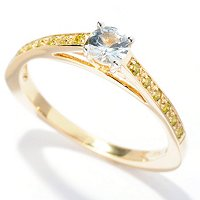 14k YG WHITE SAPPHIRE RING W/ YELLOW DIAMOND ACCENTS BAND RING