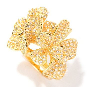 128-612 - Sonia Bitton for Brilliante® 2.63 Round Cut Pave Dimensional Flower Ring