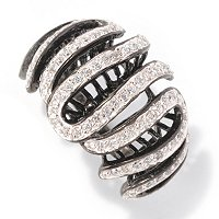 SB SS/ BLACK RHODIUM ROUND CUT SWIRL RING