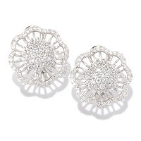 SB SS/PLAT ROUND CUT PAVE FLOWER EARRINGS