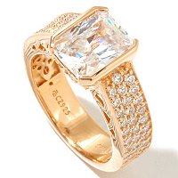 RITANI SS/CHOICE EMERALD CUT AND PAVE RING TENSION SET RING