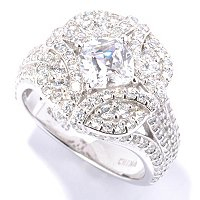 RITANI SS/PLAT CUSHION CUT W/ SCALLOPED HALO RING