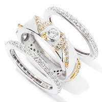 RITANI SS/TWO-TONE ROUND CUT BEZEL & PAVE SET OF THREE RINGS