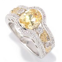 RITANI SS/TWO-TONE ROMANTIQUE CANARY OVAL W/ BEZEL AND LEAF BAND RING