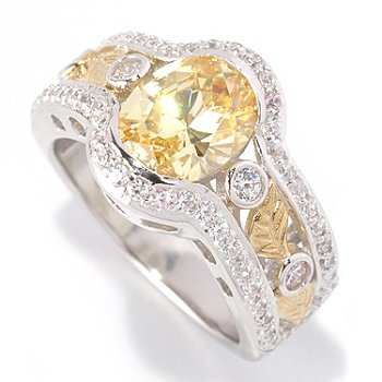128-628 - RITANI™ for Brilliante® Platinum Embraced™ 2.59 DEW Canary & White Leaf Ring