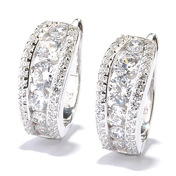 128-630 - RITANI™ for Brilliante® Platinum Embraced™ 4.10 DEW Graduated Hoop Earrings