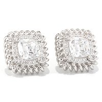 RITANI SS/CHOICE CUSHION CUT HALO ANADARE STUD EARRINGS