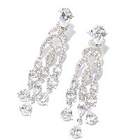 RITANI SS/PLAT TEARDROP & ROUND CHANDELIER DROP EARRINGS