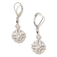RITANI SS/PLAT CUSHION CUT AND ROUND CUT OUT DROP EARRINGS