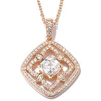 "RITANI SS/PLAT ASSCHER AND ROUND CUT RITANI FLOWER CUT OUT PENDANT W/18"" CHAIN"