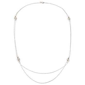 "128-639 - RITANI™ for Brilliante® Platinum Embraced™ 29"" 3.95 DEW Station Necklace"
