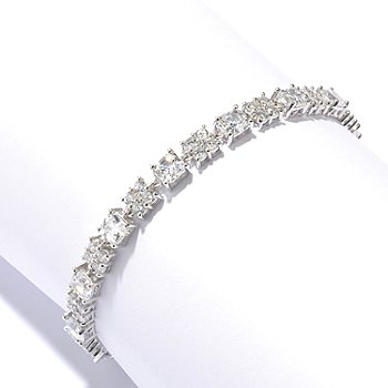 128-642 - RITANI™ for Brilliante® Platinum Embraced™ Round Cut Cluster Link Line Bracelet