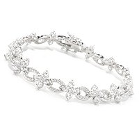 RITANI SS/PLAT ROUND CUT FLOWER AND OVAL LINK BRACELET