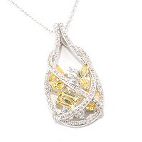 "RITANI SS/PLAT CANARY AND WHITE MULTI-CUT TEARDROP PENDANT W/ 18"" CHAIN"
