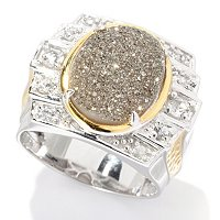 MEN'S - SS/PALL RING PLATINUM DRUSY & WHITE SAPH