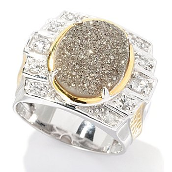 128-647 - Men's en Vogue II 16 x 12mm Drusy, White Topaz & White Sapphire Ring