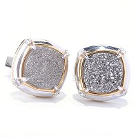 MEN'S - SS/PALL CUFF LINKS PLATINUM DRUSY & WHITE SAPH
