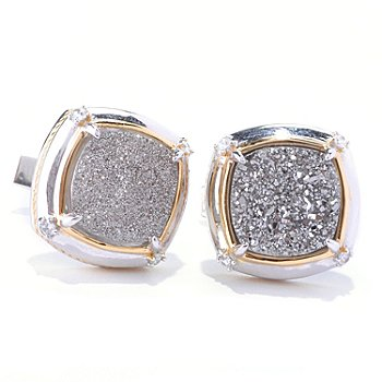 128-648 - Men's en Vogue II 12mm Drusy & White Sapphire Cuff Links
